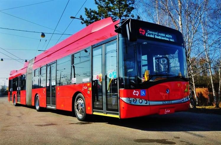 Křest druhého kloubového trolejbusu Škoda 27 Tr s trakční baterií v Českých Budějovicích, foto:DPMCB
