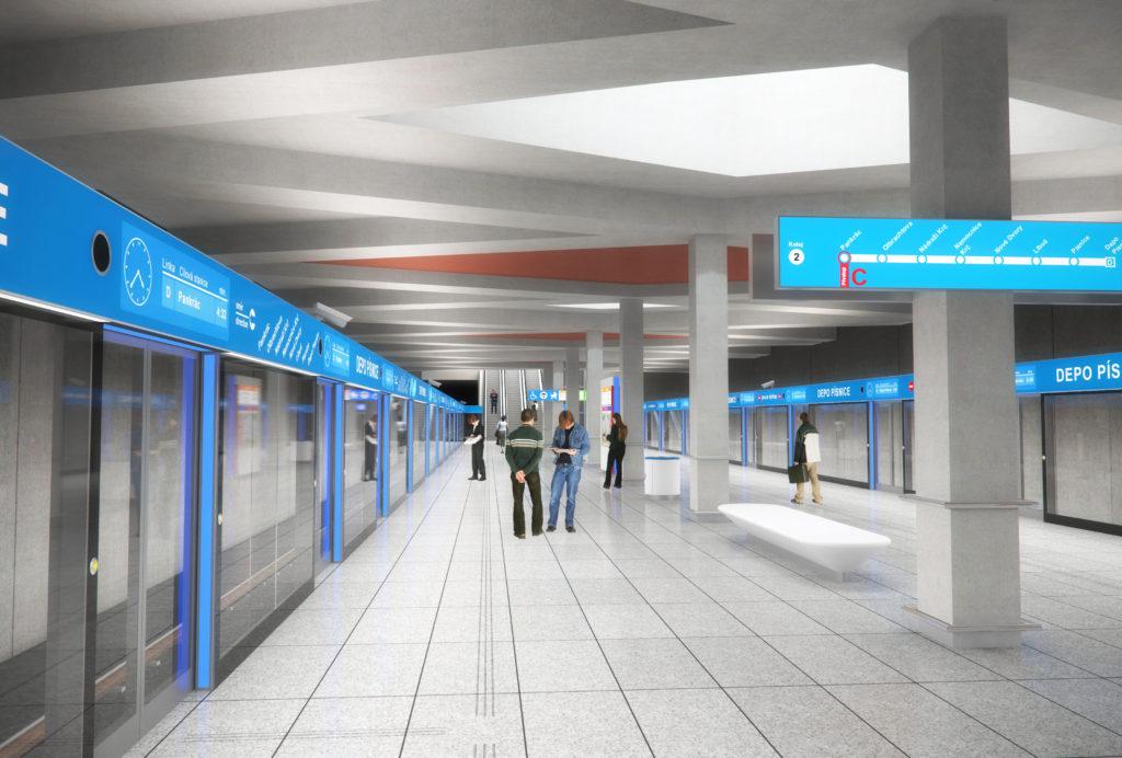 Vizualizace stanice metra na trase D pro bezobslužné metro (obrázek: časopis Stavebnictví)