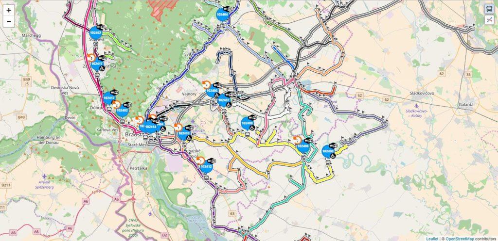 1 TransFleet – trasy liniek na mape