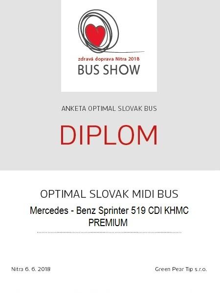 Ocenění  návštěvníků OPTIMAL SLOVAK MIDIBUS pro Mercedes - Benz Sprinter 519 CDI KHMC PREMIUM