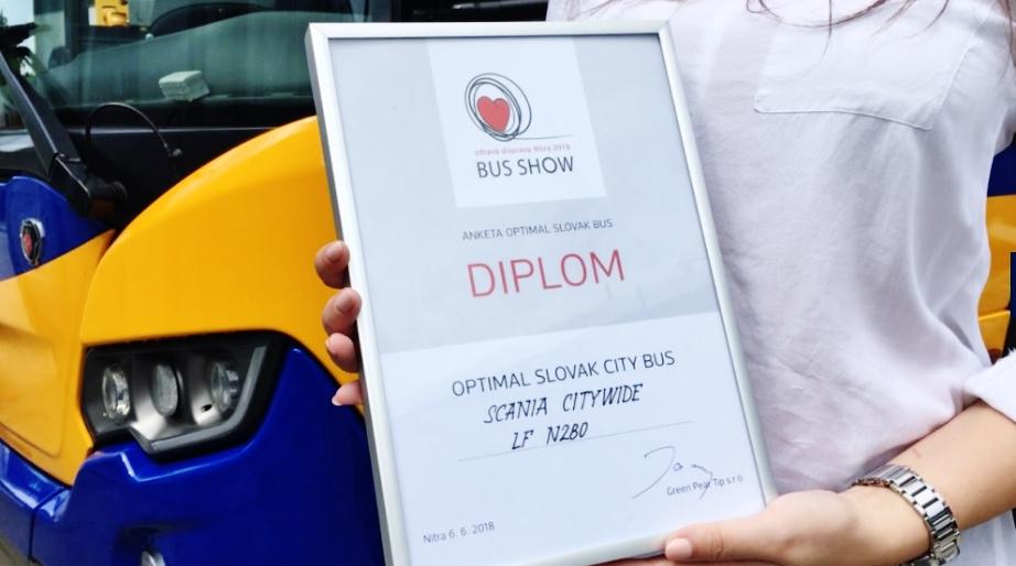 Scania Citywide LF N 280 na veletrhu BUS SHOW zdravá doprava 2018, držitel ocenění návštěvníků OPTIMAL SLOVAK CITY BUS (foto: Zdeněk Nesveda)