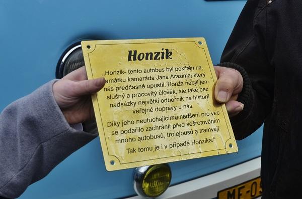 Honzík, nově pokřtěný autobus nese jméno Jana Arazima (foto: Zdeněk Nesveda)